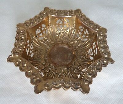 Unusual Antique 1905 Gold Gilt Solid / Sterling Silver Bowl / Dish