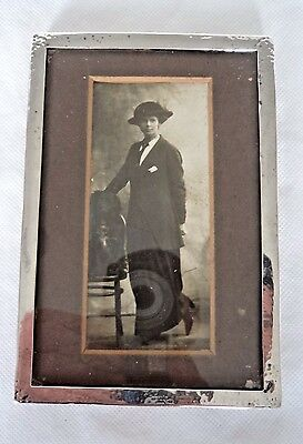 Antique Liberty London 1920 Solid / Sterling Silver & Oak Photo Frame