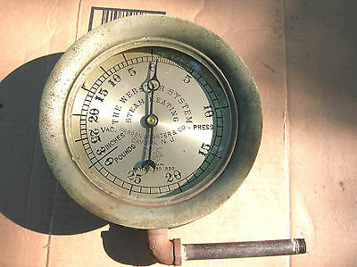 "Antique 7"" Webster & Co steam pressure gauge.1889 patent.Steampumk decor item."