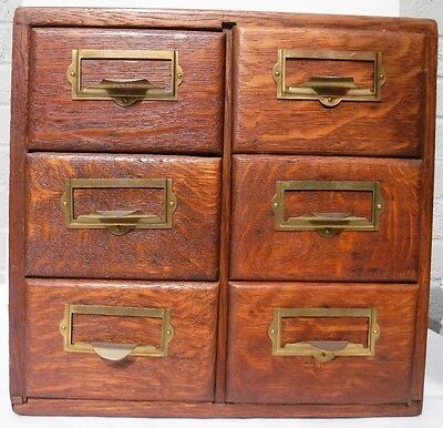 Antique Oak Six Drawer Card File Cabinet
