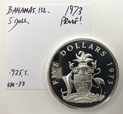 Large Coin! 1973 Bahamas Islands Silver **proof** $5 Five Dollars Km#33