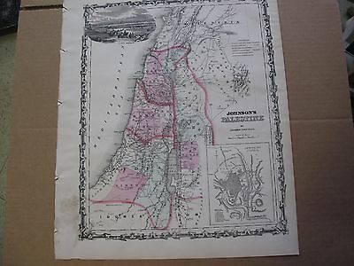 Vintage 1863 Palestine Map Hand Colored Galilee Sumeria Judea Jerusalem Israel