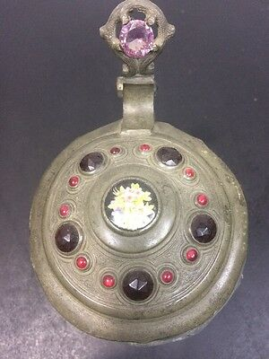 Lidded Beer Stein With Semi Precious Stones  Antique