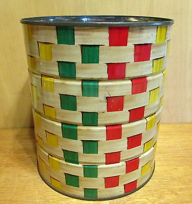 Coffee Can 3 lb Red Green Basket Weave w/o Lid Tin Mid Century Vintage