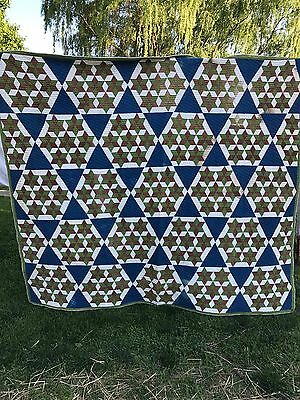 Antique/vintage Hand Quilted Early Fabrics Seven Sister Quilt Set In Blue