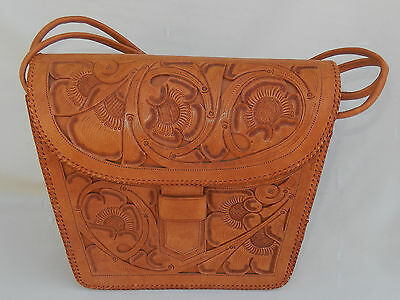 Vintage Western Style Tooled Leather Purse, Handbag in Excellent Condition