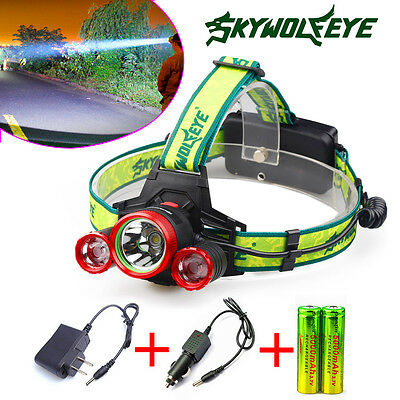 30000lm 3X XM-L T6 LED Rechargeable Headlamp+18650 Battery& Charger