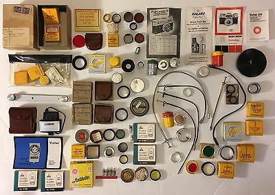 Junk Drawer Vintage Camera Accessories Lot - Filters, Shutter Releases, Flashes