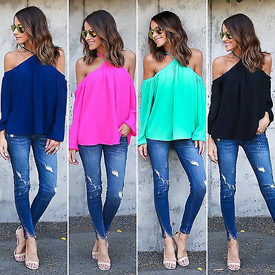 Women Ladies Off The Shoulder Casual Loose Long Sleeve T-Shirts Tops Blouse S-XL