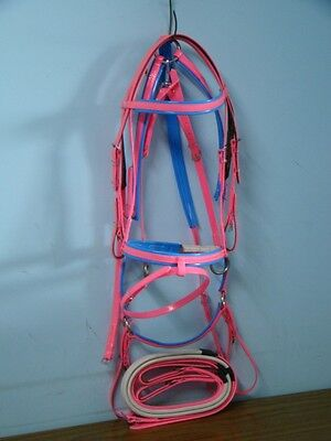 Hanovarian Bridle, Reins and Breastplate Set - Hot Pink / Blue  PVC
