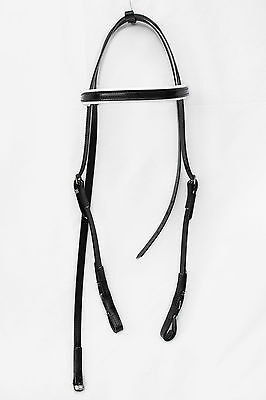 Light-Weight Race Head Bridle from PVC - Black with White Trim
