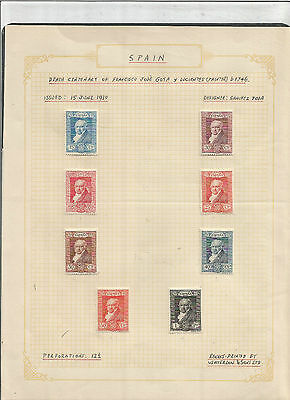 Spain 1930, annotated page to 1 Pta value, all stamps are Mint Hinged with Gum