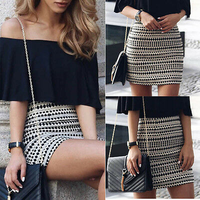 Womens Boho Pencil Bandage High Waisted Bodycon Ladies Wrap Short Mini Skirt