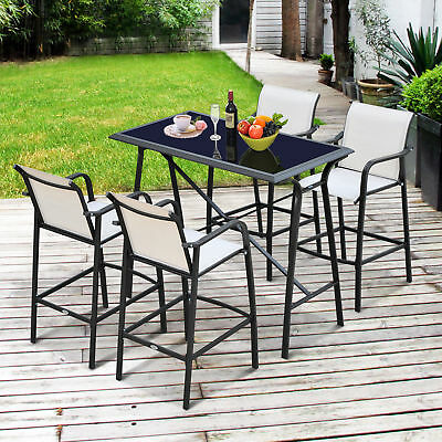 Outsunny 5pcs Bar Set Table 4 Arm Chair Stool Dining Furniture Home Garden Pub