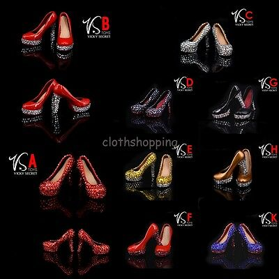 VStoys 1/6 Scale Female High Heels Plastic Crystal Shoes F 12'' PHICEN Figure