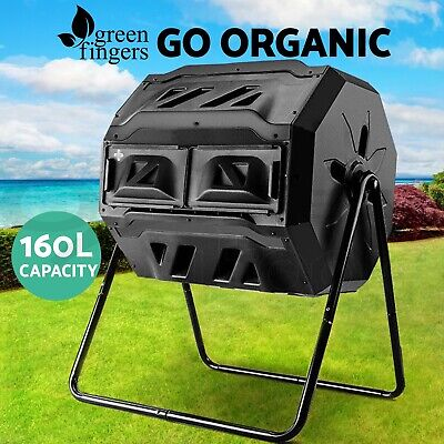 160L Twin Chamber Compost Aerated Bin  Recycling Food Waste Garden Composter