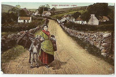 o irish life postcard ireland donkey irish country lane