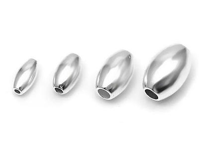 925 Sterling Silver Oval Olive Spacer Beads for Jewellery Making