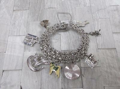 Vintage Sterling Silver Charm Bracelet with 8 Charms ~ 49.8grams ~ 9-F5225