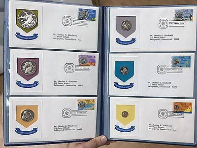 1973 Official First Day Cachets British Virgin Islands + Silver Coins In Folder!