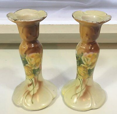 Vintage Pair Ivory Blush Candlesticks - Transfer Printed Floral Design - 6""