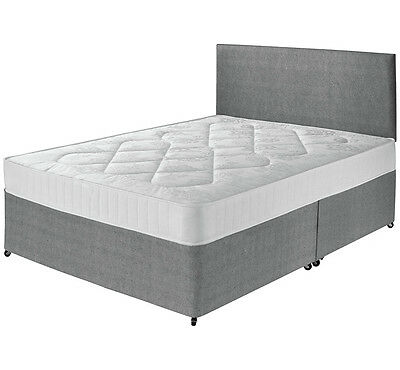 Divan Bed Set + Sprung Memory Mattress + Headboard 3Ft 4Ft 4Ft6 Various Fabric