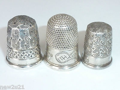 Charles Horner Silver Thimble collection x 3 Edwardian Chester Hallmarks