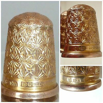 Victorian 9 carat gold Thimble Size 8 Charles Horner Chester c1890