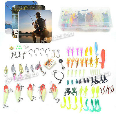 100 Mulitcolour Fishing Lures Spinners Plugs Bait Pike Trout Salmon Set Kit UK