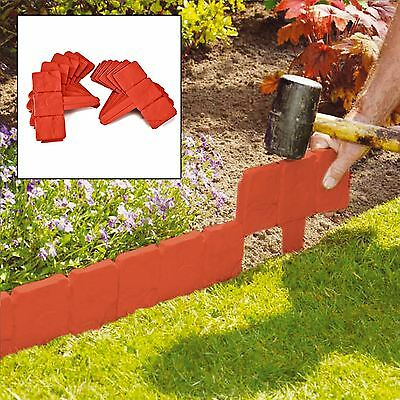 10 Pack Terracotta Cobbled Stone Effect Plastic Garden Lawn Edging Plant Border