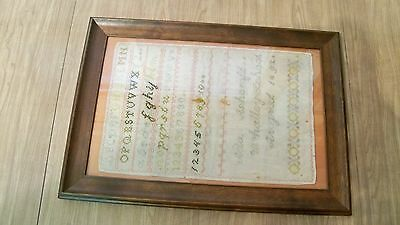 Framed 19th Century Antique Needlepoint Cross-Stitch Sampler Dated 1892 Nice