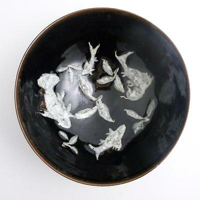 Chinese Jian Ware Large Black-Glazed Conical Bowl With Fish Decoration, Ming