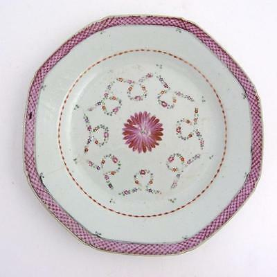Chinese Famille Rose Porcelain Octagonal Plate, 18Th Century