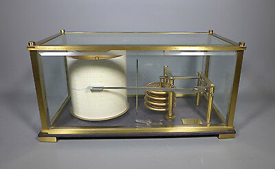 Fine Beveled Glass And Brass Barograph In Full Working Order Charts Included