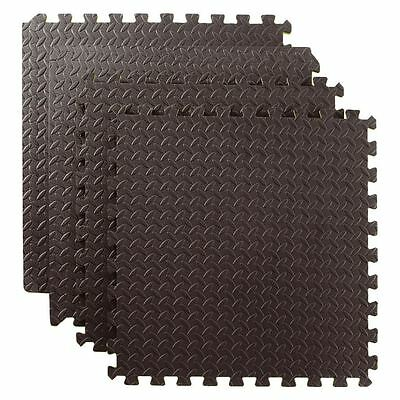 48 SQ FT Interlocking Foam Mats Tiles Gym Play Garage Workshop Floor Mat Black