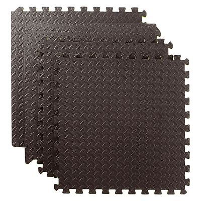 144 SQ FT Interlocking Foam Mats Tiles Gym Play Garage Workshop Floor Mat Black