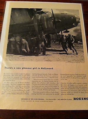 Vintage 1943 Boeing B-17 Glamour Girl WW II Flying Fortress Print ad