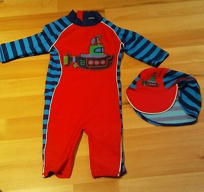 Boys 18-24 Months Swimwear Swimsuit All in One Blue and Red with Sun Hat