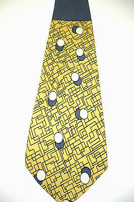 40's Vntge Silk Tie~Yellow & Blue Abstract~