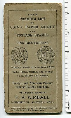 "F.R. Kimball; ""1914 Premium List of Coins, Paper Money & Postage Stamps"""