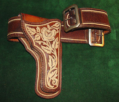 Antique Mexican Revolution Piteado Holster and Double Buckle Belt
