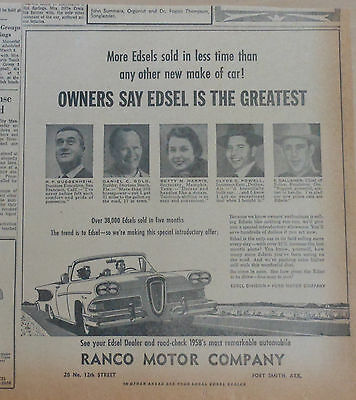1958 newspaper ad for Ford - Owners Say Edsel is the Greatest, over 38,000 sold