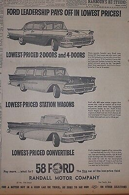 1958 newspaper ad for Ford - Leadership, station wagon, sedan, convertible