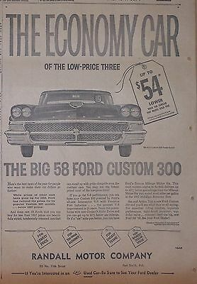 1958 newspaper ad for Ford - Custom 300 The Economy Car of the low price three