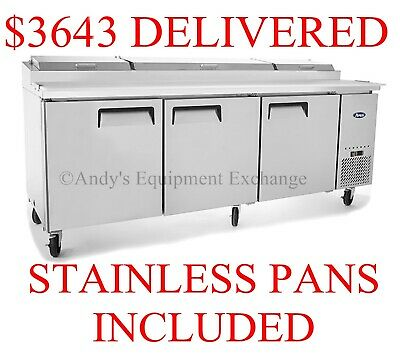 """Atosa Pizza Sandwich Prep Table 93"""" inch 3 Door cooler with cutting board 7+ ft"""