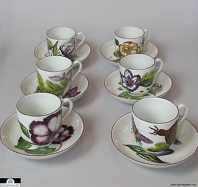 Mottahedeh Chelsea Botanicals Set of 6 Cups & Saucers  *NEW*