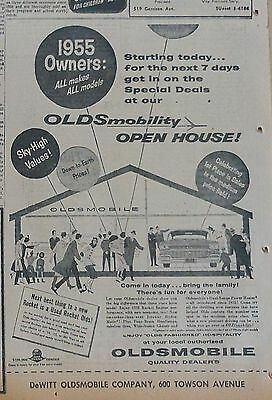 1958 newspaper ad for Oldsmobile - Oldsmobility Open House for 1955 Olds owners