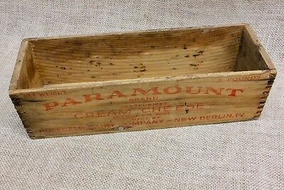 PARAMOUNT CREAM CHEESE old wood box vintage finger joints New Berlin PA rustic