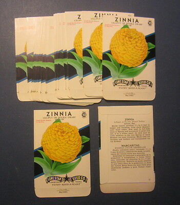 Wholesale Lot of 25 Old Vintage 1950's ZINNIA - Yellow - FLOWER SEED PACKETS