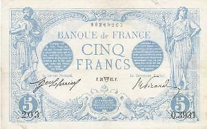 Billet 5 francs Bleu 22-04-1914